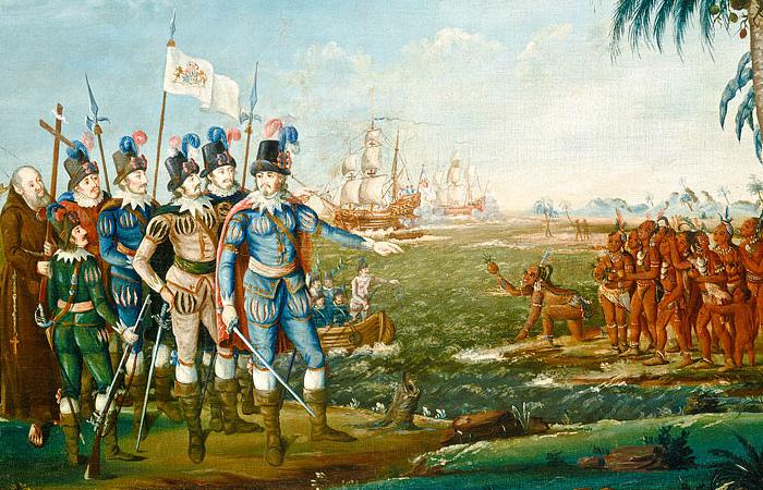 Высадка Колумба в Новом Свете. Картина Ф.Кеммелмейера
